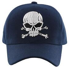 NEW! BIG PIRATE SKULL BALL CAP HAT NAVY