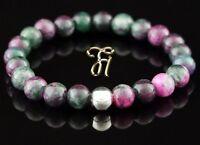 Jade grün pink 925er sterling Silber Armband Bracelet Perlenarmband 8mm