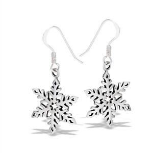 Sterling Silver SNOWFLAKE Earrings Hook dangle Solid 925 .925 CHRISTMAS SNOW