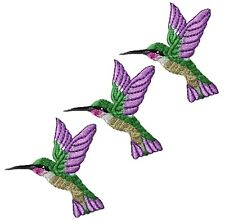 "Hummingbird Applique Patch - Purple, Green, Bird Badge 1-1/4"" (3-Pack, Iron on)"