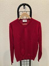 LIKE NEW Epaulet Merino Wool V-Neck Sweater, Red, Slim L fits M