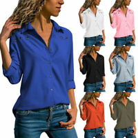 Womens Long Sleeve Blouse Button Casual Tops Ladies V Neck Office Work Shirts