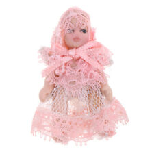 1/12 Porcelain Baby Doll in Pink Lace Dress Dollhouse People Figures Decor