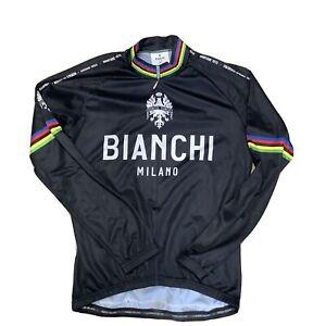 Bianchi Milano Leggenda Long Sleeve Cycling Jersey Black XL Retro Classic
