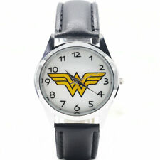 Wonder Woman DC Comics Symbol Film Movie Leather Analog Quartz Wrist Watch Black