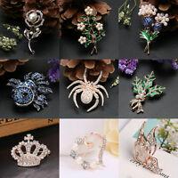 Fashion Women Crystal Rhinestone Pearl Wedding Bridal Flower Brooch Pearl Gifts