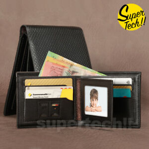 Premium Genuine Leather Mens Purse Bifold Black Business Credit Card Wallet OZ