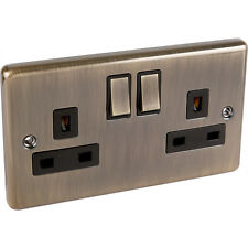Antique Brass 2gang Plug Socket Windsor