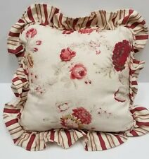 "Waverly NORFOLK ROSE THROW PILLOW  Striped Ruffle RED Floral IVORY 16"" x 16"" EUC"
