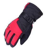 Men Winter Thicken Warm Waterproof Plush Motorcycle Ski Snowboard Gloves Red