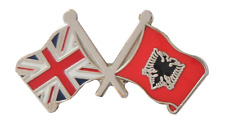 Albania Flag & United Kingdom Flag Friendship Pin Badge