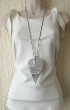 """Beautiful 32"""" long SILVER tone HUGE jointed heart pendant  chain necklace"""