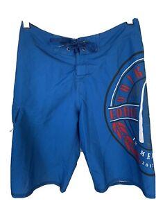 Quiksilver 2012-2013 The Eddie Aikau Mens 30 Blue Hawaiian Print Board Shorts