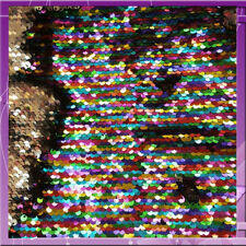 MERMAID SEQUIN MULTICOLOR / SILVER REVERSIBLE RAINBOW FABRIC FLIP SOLD BY  YARD