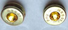 BULLET EARRINGS   40 CALIBER S & W  GOLDEN  SWAROVSKI CRYSTAL   NEW UNUSED