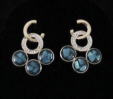 Earrings Stud Gold Plated Navy E1206 Art Deco Clear Austrian Crystal Rhinestone