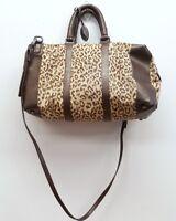 ELIE TAHARI Brown Leather Beige Leopard Cheetah Satchel Handbag