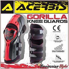 ACERBIS GORILLA PROTEZIONE GINOCCHIO KNEE GUARD MX MOTOCROSS OFFROAD NERO/ROSSO