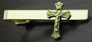 Crucifix Tie Bar Fix Clip Catholic Cross Symbol Religious Clasp Gold-tone