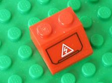 LEGO Red Slope 45 2x2 White Electricity Danger Sticker Ref 3039pb061 Set 7701