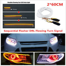 2X 60cm LED White Amber Flexible Tube Strip Switchback Head DRL Daytime Light