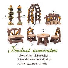 DIY Plant Table Bridge Dollhouse Kit Miniature Fairy Garden Ornament Decor Pot