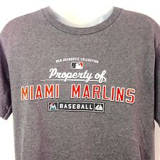 Miami Marlins T Shirt Gray MLB Authentic Collection Majestic Baseball Mens Small