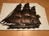 "Vintage Dart Coppercraft Guild Sailing Ship #4574 1962 26"" X 21"" Plastic"