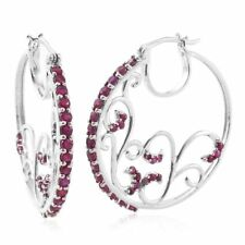 Genuine Burma ruby Platinum Overlay 925 Sterling earrings