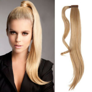 """14""""-30'Silk Straight Wrap- Ponytail 100% Real Remy Human Hair Clip in Extension"""