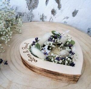 Vintagelook Hochzeit Ringkissen Ringkissen Herz Mille Fleurs geflammt mit Namen