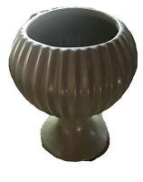 Vintage Planter /Vase McCoy Floraline #407 Avocado Green Ribbed Pedestal USA