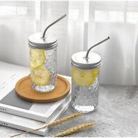Clear Transparent Glass Tea Milk Cup Coffee Mug With Straw Drinking 250ml