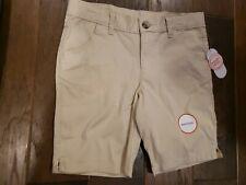 Girls Tan Khaki Bermuda Chino Uniform Shorts Adjustable Waistband Size 10 New