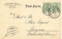 """WÜRTTEMBERG """"Stuttgart PÄ1 o(5)o"""" selt. K1 2 x abgeschlagen auf Postkarte 1904"""
