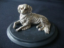 Spetacular antique silver plated figural bronze dog pounce pot