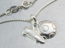 Genuine 925 sterling silver Football and Boot pendant Necklace Boys Mens