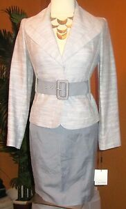 CALVIN KLEIN NWT women's suit dusty blue and white 2 piece jacket & skirt $280