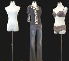 Female display manikin dress form +2 covers + stand, White/black new torso- Pb-5