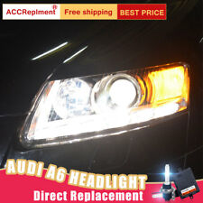 2Pcs For Audi A6 Headlights assembly Bi-xenon Lens Projector LED DRL 2005-2011
