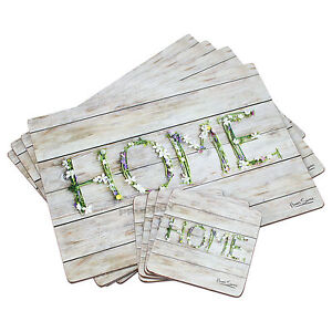 Set of 4 Placemats & Coasters Table Place Settings Mats Home Floral Shabby Chic