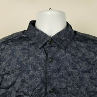 Ted Baker London Mens Dark Blue Floral Dress Button Shirt Size 4 / Large L