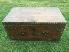 Antique 18th Century Georgian Camphor Wood And Brass Military Campaign Chest