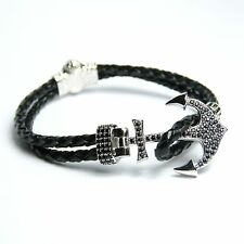 Men Women Leather Anchor bracelet Inlaid With Crystal 24 Karat White Gold Plated