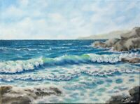"Art12""/16""seascape,ocean waves,oil painting, landscape,beach,Marine, nautical"