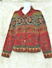 David Brooks Medium Cardigan Sweater Hand Knit Silk Blend Floral red, green gold