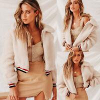 Women Winter Teddy Bear Tops Zipper Fluffy Fleece Fur Jacket Coat Outerwear
