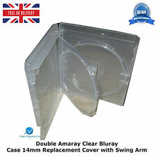 20 x double amaray clair blu ray case 14mm colonne vertébrale avec inner swing tray cover neuf
