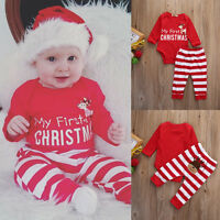 Infant Baby FIRST CHRISTMAS Outfit Boy Girl Bodysuit+Stripe Leggings Clothes Set