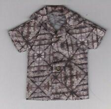 Homemade Doll Clothes-Hawaiian Look Grays Print Shirt fits Ken Doll B7
